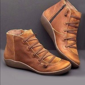 Tan Lace-Accent Ankle Boot - Women